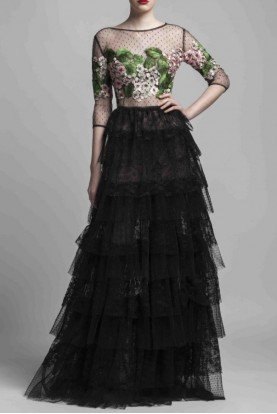 Beside Couture by Gemy  Black Long Sleeve Tiered Sheer Top Evening Gown