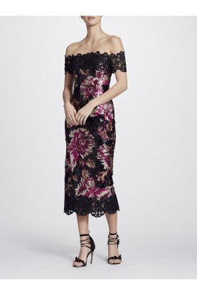 Marchesa Notte Off the Shoulder Sequined Peony Midi Tea Dress