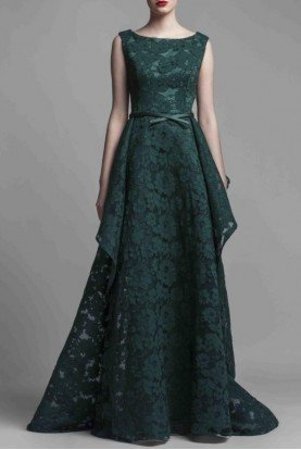 Beside Couture by Gemy Sleeveless Emerald Green A Line Evening Gown