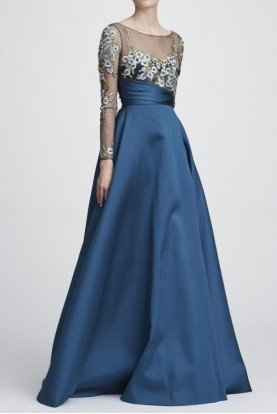 Marchesa Notte Long Sheer Sleeves Mikado Ball Gown Evening Dress