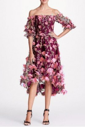 Marchesa Notte Wine Off Shoulder High Low Floral Cocktail Dress