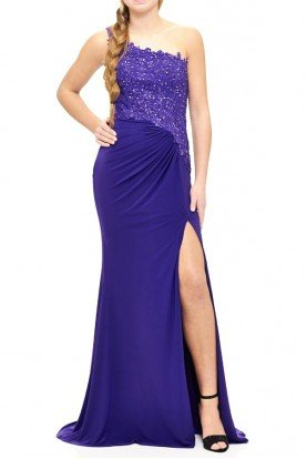 E1903 Purple Beaded One Shoulder Evening Gown