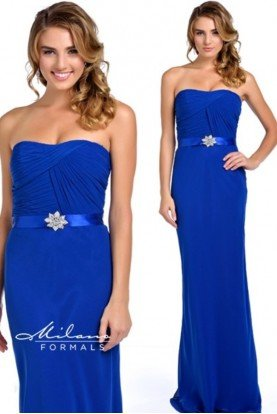 Royal Blue Ruched Strapless Gown Prom Dress Sale