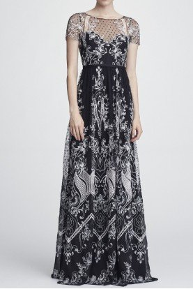 Marchesa Notte Black Beaded Short Sleeve Chiffon and Lace Gown