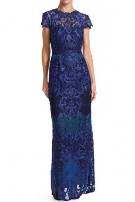 Marchesa Notte Cobalt Blue Short Sleeve Scroll Lace Gown