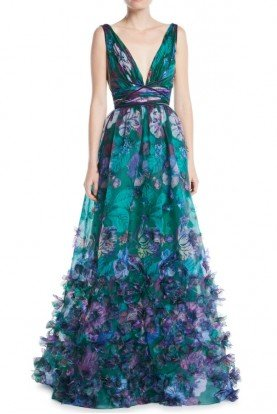 Emerald 3D Floral Embroidered Organza Ball Gown