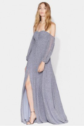 Halston Heritage Printed Off Shoulder Pleated Gown Slate Blue