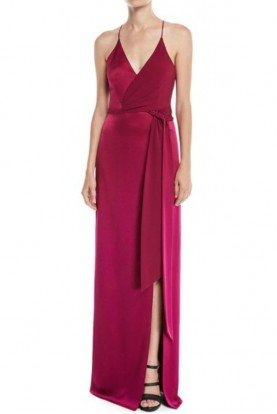 Halston Heritage Sleeveless Satin Wrap Gown Wildberry