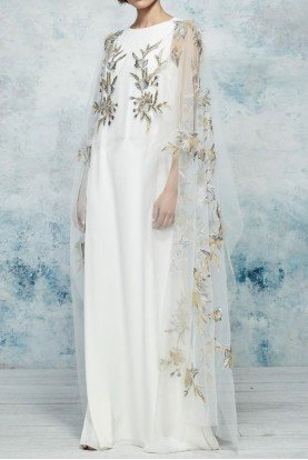 Ivory Embroidered Long Sheer Capelet Kaftan