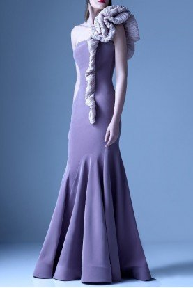 Purple One Shoulder Ruffle Mermaid Gown