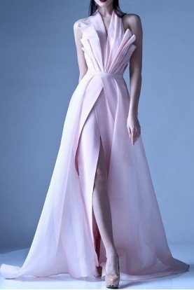 Gaby Charbachy Pastel Pink Structured Halter Gown