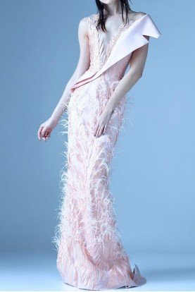 Gaby Charbachy Peach Sleeveless Feather Gown