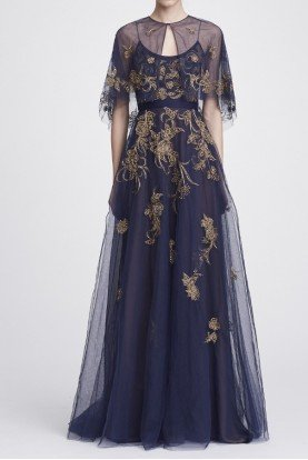 Marchesa Notte Navy Sleeveless Embroidered Tulle Gown w Capelet