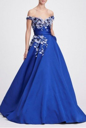 Royal Blue Off the Shoulder Ball Gown