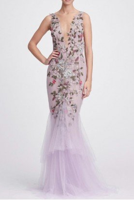 Marchesa Lilac Plunging V Neck Fit and Flare Gown