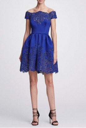 Marchesa Cobalt Blue Off Shoulder Satin Cocktail Dress