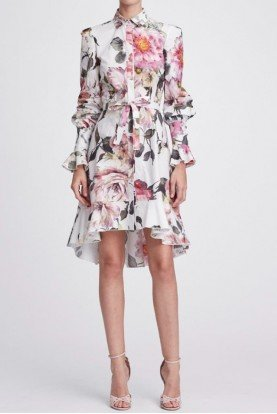 Marchesa Floral Long Sleeve Cotton Shirt Dress