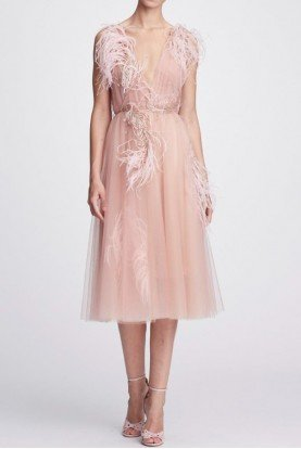 Plunging V Neck Tulle Blush Midi Cocktail Dress