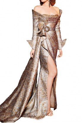 Fouad Sarkis Couture Metallic Long Sleeve Off the Shoulder Evening Gown