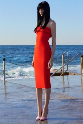 Alex Perry  Tangerine Red Audra Strapless Lady Dress