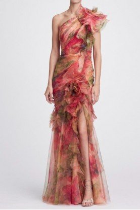 One Shoulder 3D Printed Silk Organza Evening Gown