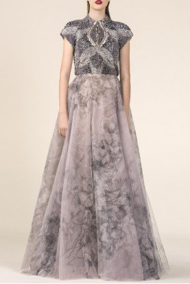 SK by Saiid Kobeisy Rose Cap Sleeve Printed Evening Gown
