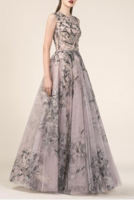 SK by Saiid Kobeisy Rose Sleeveless Printed Evening Gown