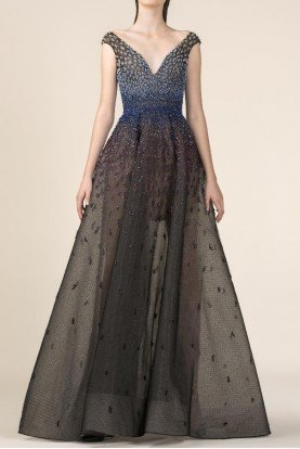 SK by Saiid Kobeisy Black and Blue Embroidered Off Shoulder Gown