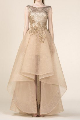 SK by Saiid Kobeisy Gold Sleeveless Brocade High Low Gown