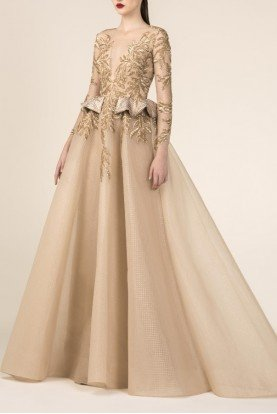 SK by Saiid Kobeisy Gold Long Sleeve Tulle and Brocade Gown