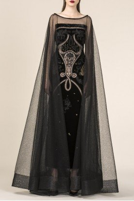 SK by Saiid Kobeisy Black Sky Strapless Encrusted Velvet Gown w Cape