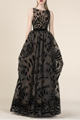 Black Sky Encrusted Sleeveless Gown