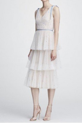 Ivory Sleeveless Embroidered Tulle Midi Tea Dress