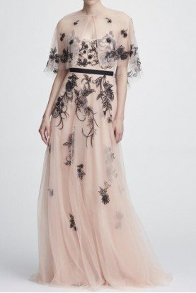 Blush Sleeveless Embroidered Tulle Gown w Capelet