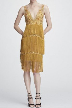 Marchesa Notte Gold Sleeveless Embroidered Fringe Cocktail Dress