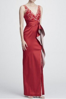 Marchesa Notte Red Sleeveless Mikado Column Gown