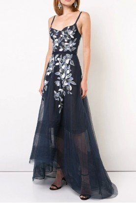 Marchesa Notte Navy Sleeveless Beaded Embroidered Hi Lo Gown