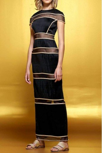 John Paul Ataker Metallic cord detailed pleated organza long dress