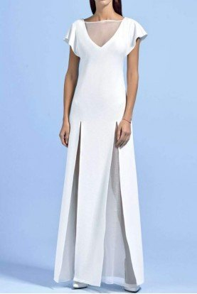 John Paul Ataker Stretch Jacquard Knit Long Dress w Organza Detail