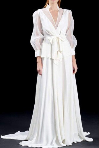 John Paul Ataker Ivory organza and viscose satin long dress JPA1378