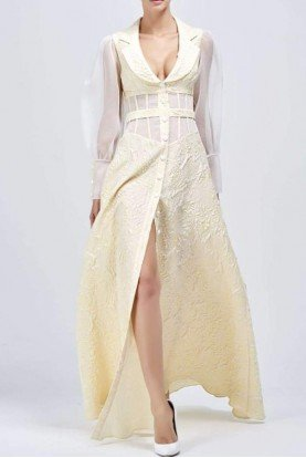 Organza and jacquard button-up long dress JPA1382