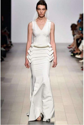 John Paul Ataker White Structured Long Evening Dress Gown JPA1655