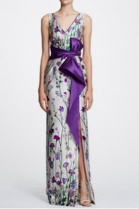 Marchesa Notte Sleeveless Floral Printed Mikado Gown N29G0840