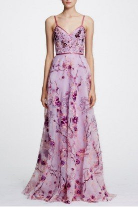 Marchesa Notte Lilac Pink Sleeveless Floral Organza Evening Gown