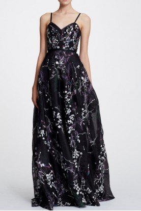 Black Sleeveless Floral Organza Evening Gown