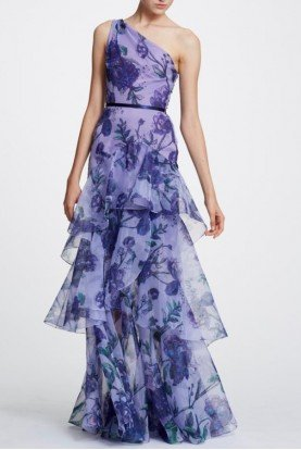 Lilac One Shoulder Floral Organza Evening Gown