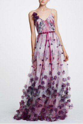 Marchesa Notte Sleeveless 3D Floral Evening Gown Dress