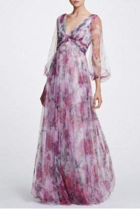 Marchesa Notte Sheer Sleeve Printed Floral Gown Dress