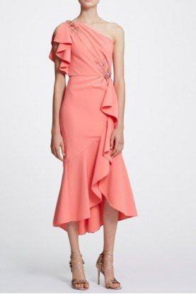Coral One Shoulder Crepe Midi Tea Dress