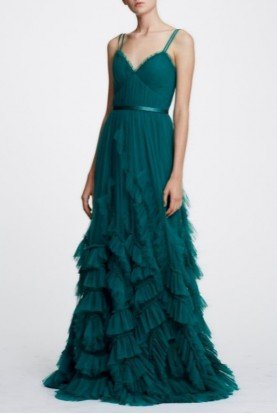 Marchesa Notte Emerald Green Sleeveless Textured Tulle Gown